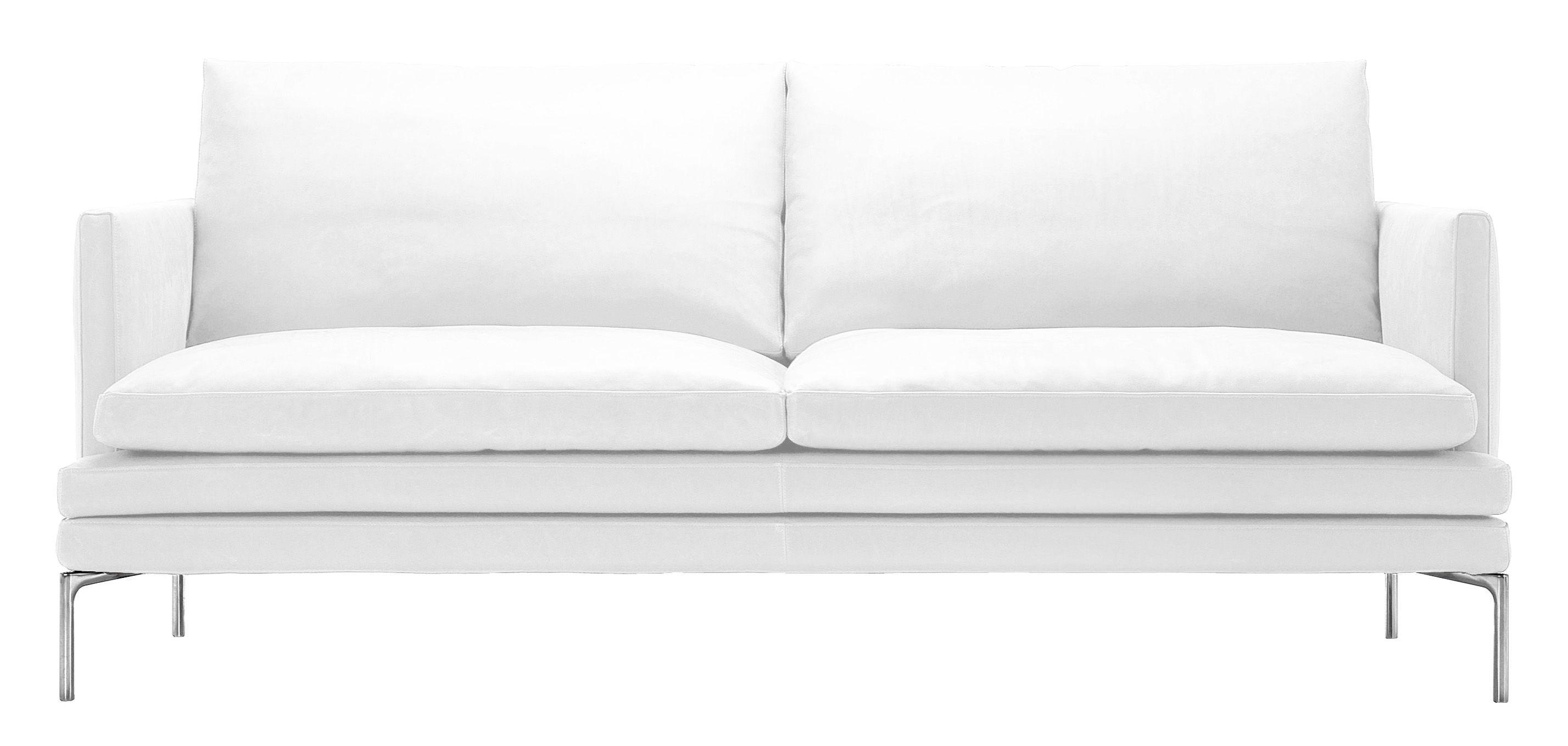 Mobilier - Canapés - Canapé droit William / Tissu - 2 places - L 180 cm - Zanotta - Blanc - Aluminium poli, Tissu