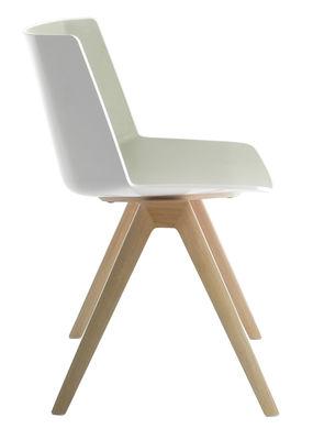 Furniture - Chairs - Aiku Chair - / Solid oak legs by MDF Italia - White & light grey inside / Oak legs - Oak, Polypropylene