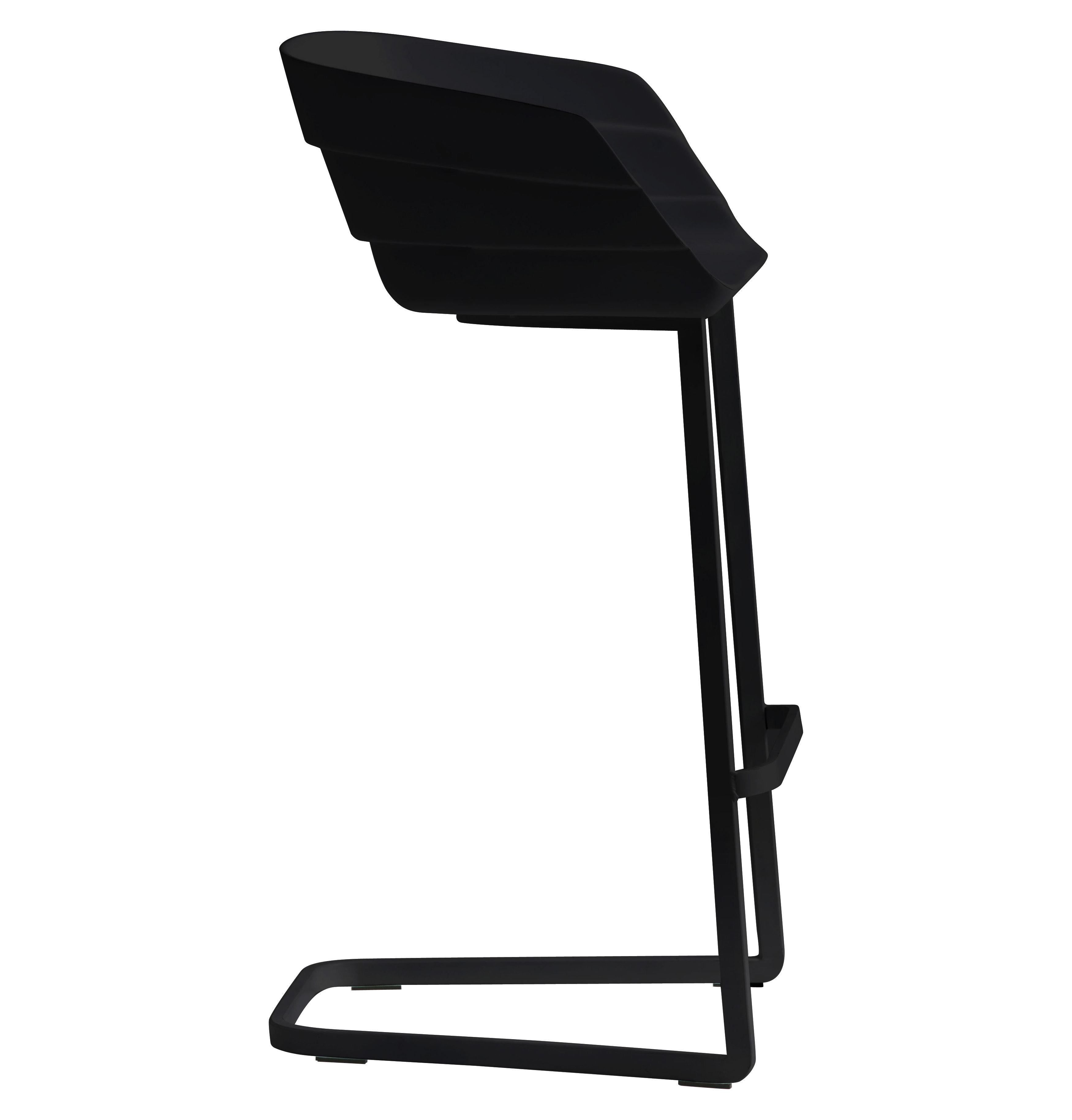 Mobilier - Tabourets de bar - Chaise de bar Rift / H 65 cm - Coque plastique & pied métal - Moroso - Noir / Piètement noir - Acier verni, Polyuréthane