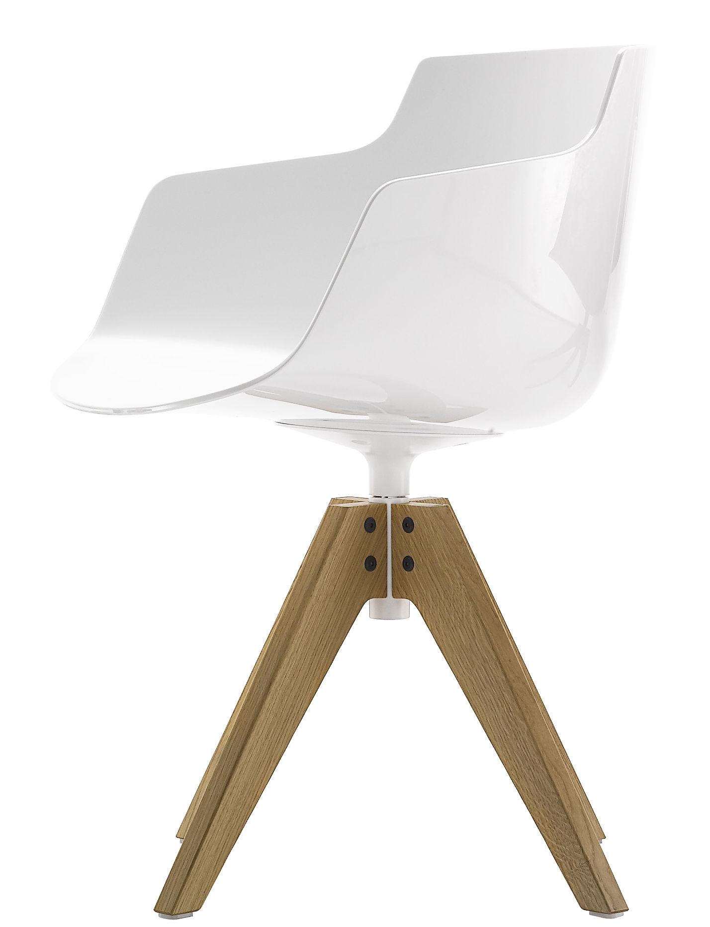 Möbel - Stühle  - Flow Slim Drehsessel / Sitzschale Kunststoff & Stuhlbeine Eiche - MDF Italia - Weiß / Fußgestell Eiche - massive Eiche, Polykarbonat