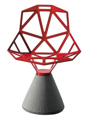 Mobilier - Chaises, fauteuils de salle à manger - Fauteuil Chair one B / Métal & base béton - Magis - Rouge - Béton, Fonte d'aluminium