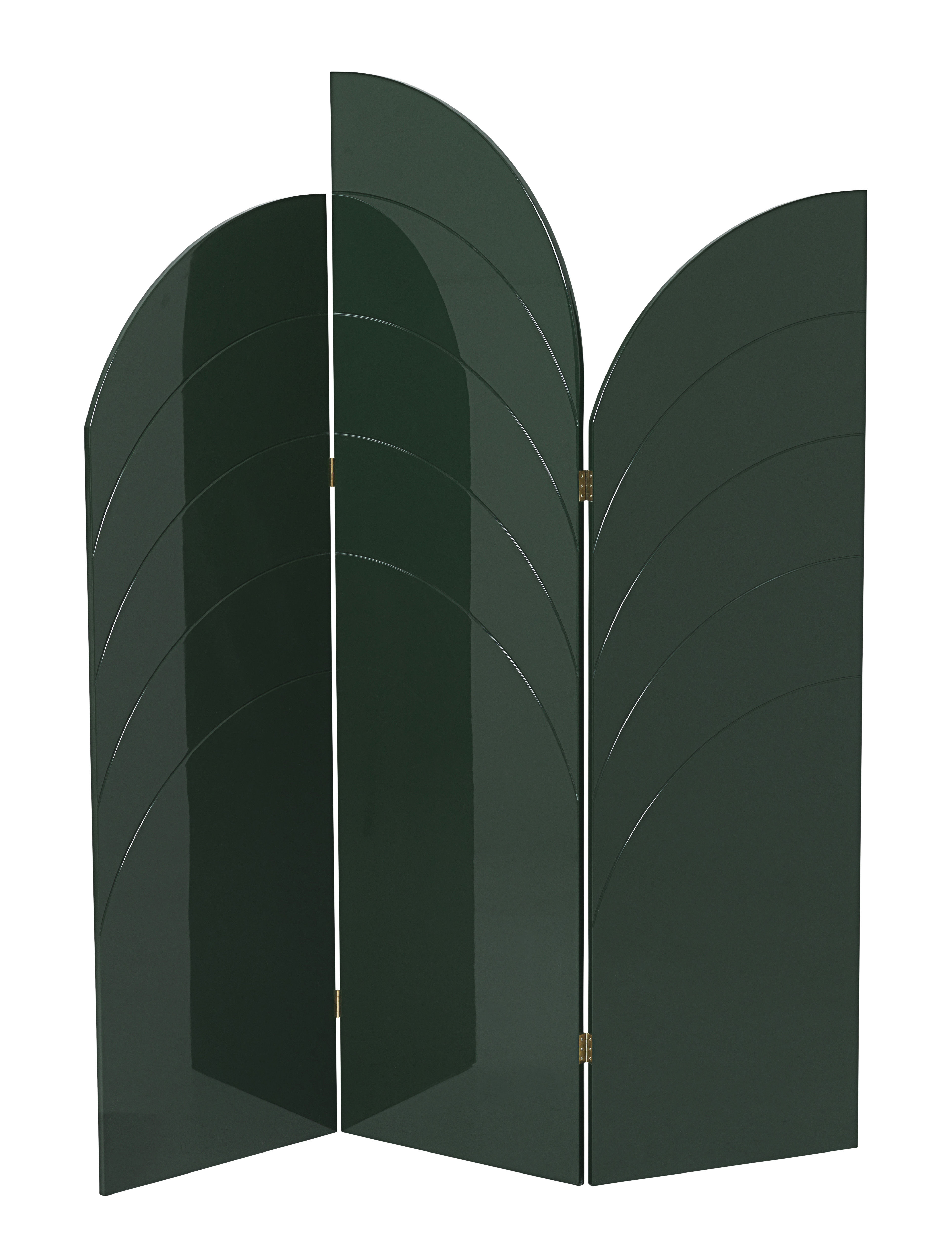 Furniture - Room Dividers & Screens - Unfold Folding screen - / MDF - L 150 x  H180 cm by Ferm Living - Dark green - Lacquered MDF