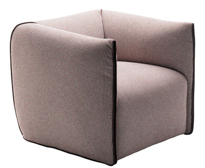 Möbel - Lounge Sessel - Mia Gepolsterter Sessel - MDF Italia - Rot mit Hahnentrittmuster / Bordüren rot - Furnier, geschäumtes Polyurhethan, Gewebe, Massivholz