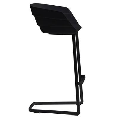 Möbel - Barhocker - Rift Hochstuhl H 65 cm - Freischwinger - Moroso - Schwarz - Gestell schwarz - gefirnister Stahl, Polyurhethan