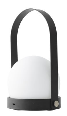 Illuminazione - Lampade da tavolo - Lampada senza fili Carrie LED / Ricarica USB - Metallo & vetro - Menu - Nero & Bianco - Acciaio verniciato a polveri, Vetro opalino