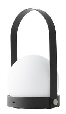 Leuchten - Tischleuchten - Carrie LED Lampe ohne Kabel / mit USB-Ladeport - Metall & Glas - Menu - Schwarz & weiß - Opalglas, Pulverbeschichteter Stahl