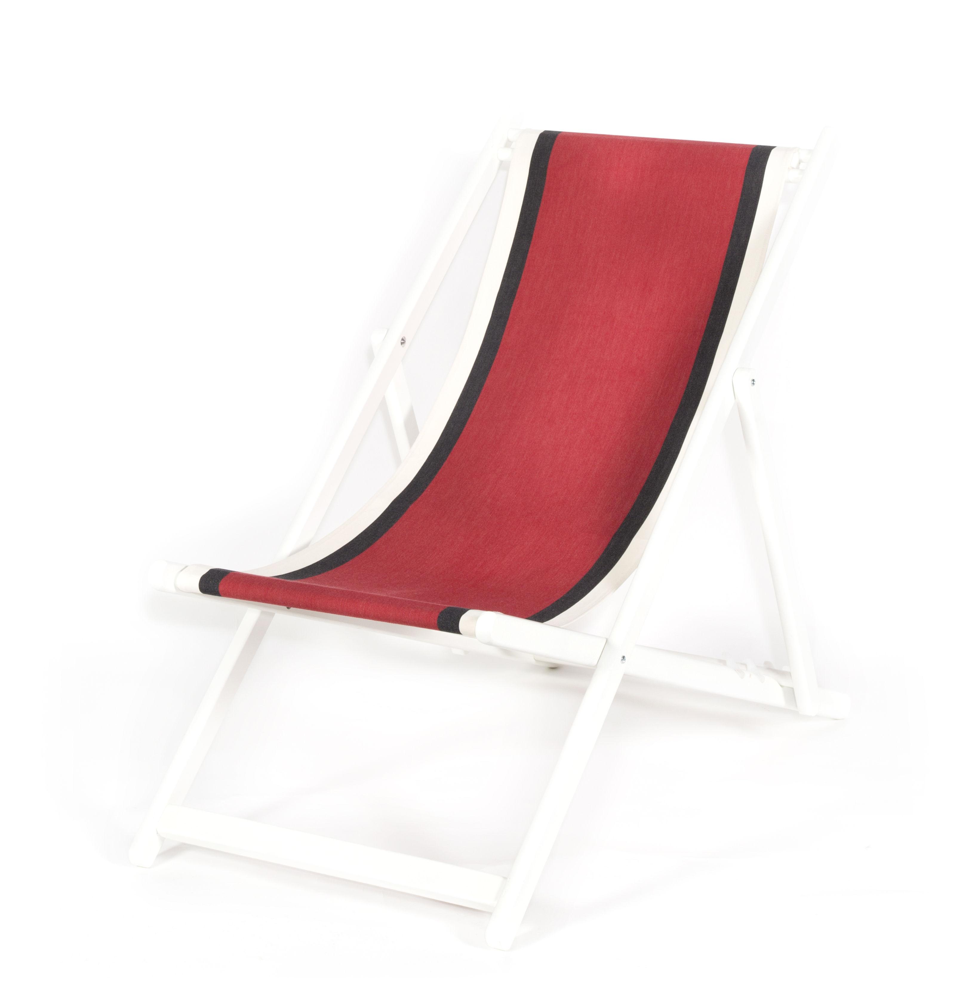 Outdoor - Liegen und Hängematten - Transat Liege / Zusammenklappbar & verstellbar - Maison Sarah Lavoine - Rot / Gestell weiß - Baumwolle, lackiertes Holz