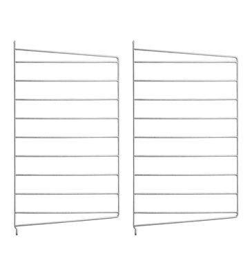 Arredamento - Scaffali e librerie - Montante murale String Outdoor - / Acciaio zincato - H 50 x P 30 cm - Set da 2 di String Furniture - Set da 2 / zincato - Acciaio galvanizzato