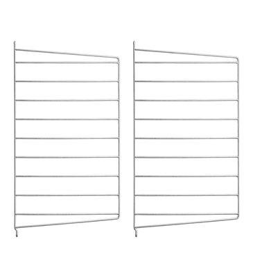 Arredamento - Scaffali e librerie - Montante murale String® Outdoor - / Acciaio zincato - H 50 x P 30 cm - Set da 2 di String Furniture - Set da 2 / zincato - Acciaio galvanizzato