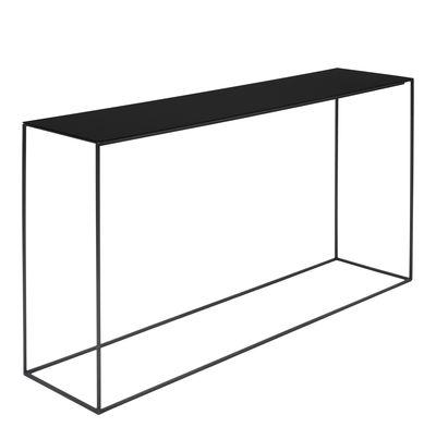 Möbel - Couchtische - Slim Irony niedrige Konsole / 124 x 31 x H 64 cm - Zeus - Ablageplatte schwarzbraun / Gestell schwarzbraun - bemalter Stahl