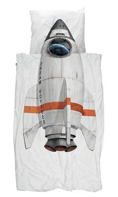 Parure de lit 1 personne Fusée / 140 x 200 cm - Snurk blanc,orange,gris en tissu