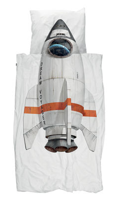 Parure de lit 1 personne Fusée / 140 x 200 cm - Snurk blanc/multicolore en tissu