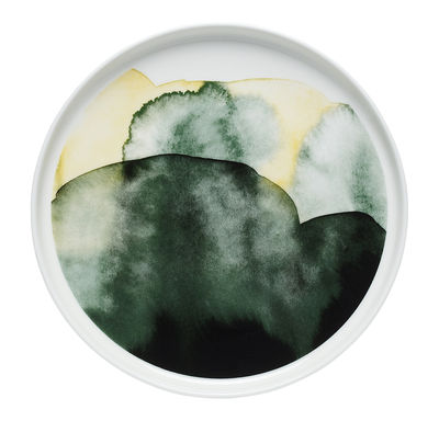 Tavola - Piatti  - Piatto Oiva Sääpäiväkirja / Ø 20 cm - Marimekko - Sääpäiväkirja / Verde - Porcellana