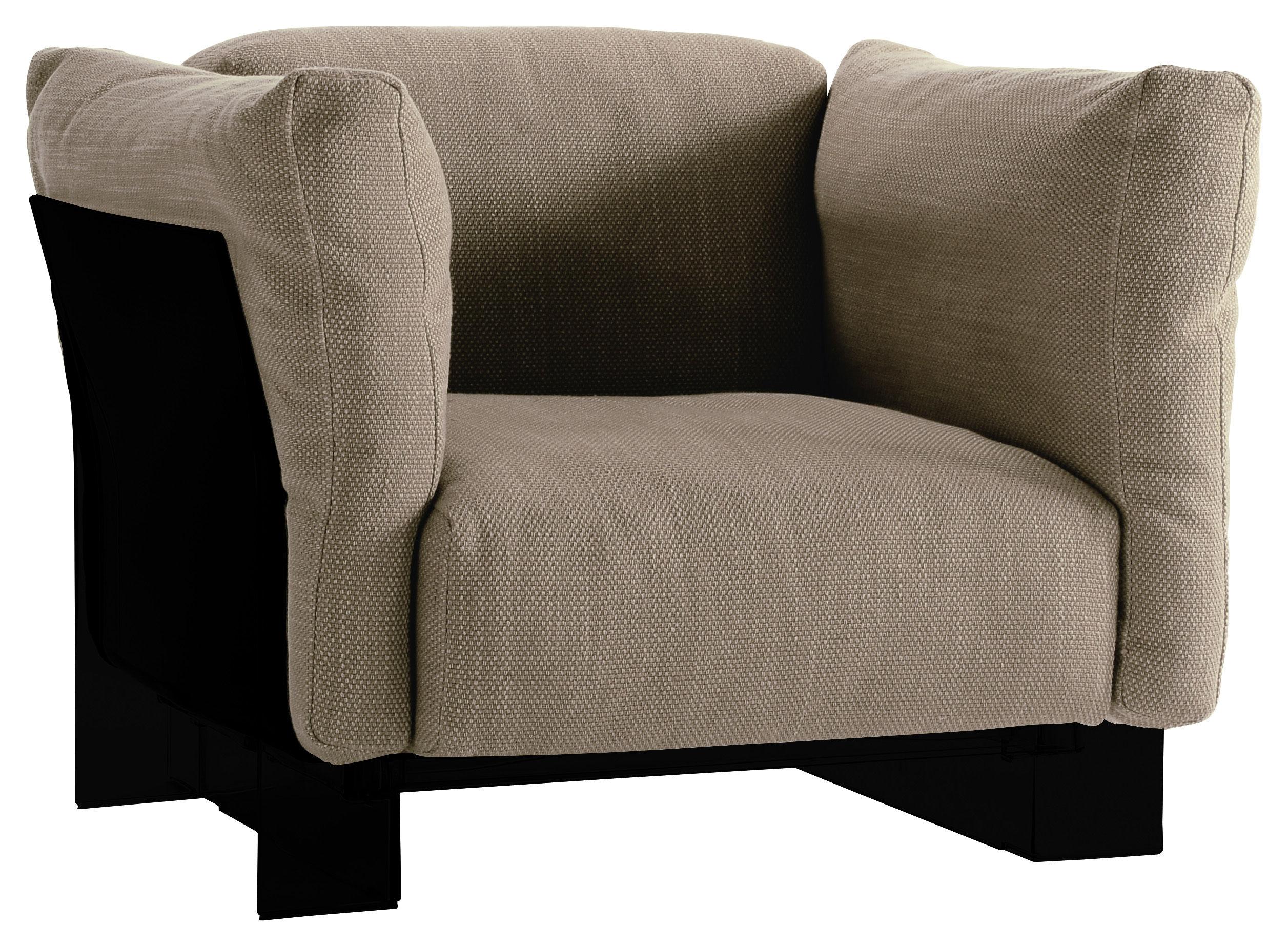 Arredamento - Poltrone design  - Poltrona imbottita Pop Duo - Struttura nera di Kartell - Grigio tortora - policarbonato, Tessuto