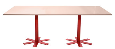 Furniture - Dining Tables - Parrot Rectangular table - 200 x 90 cm by Petite Friture - Pastel pink / Red legs - Enamelled steel, Powder coated steel