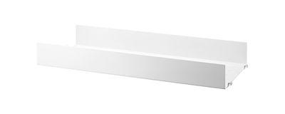 Möbel - Regale und Bücherregale - String® System Regal / Lochblech, HOHER Rand - L 58 x T 20 cm - String Furniture - Weiß - lackierter Stahl