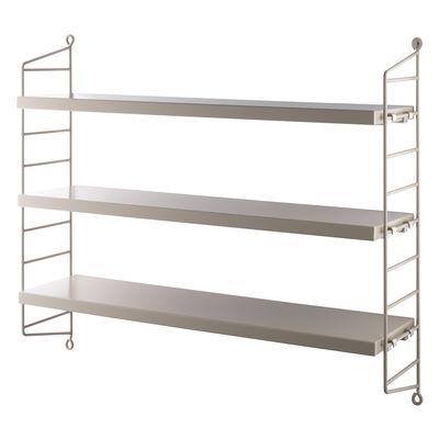 Furniture - Bookcases & Bookshelves - String® Pocket Shelf - / MDF - L 60 x H 50 cm by String Furniture - Beige - Lacquered steel, Painted MDF