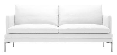 Möbel - Sofas - William Sofa / Stoff - 2-Sitzer - L 180 cm - Zanotta - Stoff - weiß - Gewebe, poliertes Aluminium