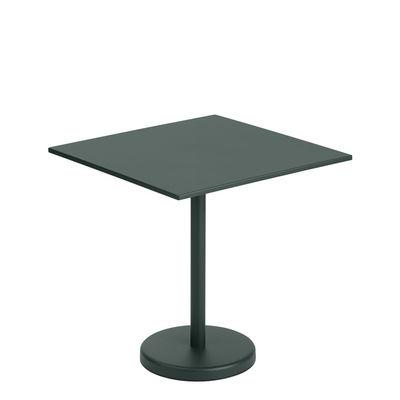 Outdoor - Garden Tables - Linear Café Square table - / 70 x 70 cm - Steel by Muuto - Dark green - Steel