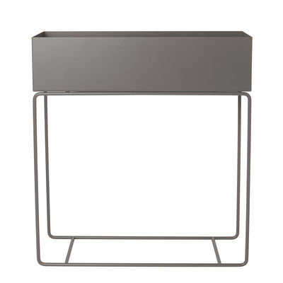 Decoration - Flower Pots & House Plants - Plant Box Standing flowerpot - / On stand - L 60 x H 65 cm by Ferm Living - Warm grey - Epoxy lacquered steel