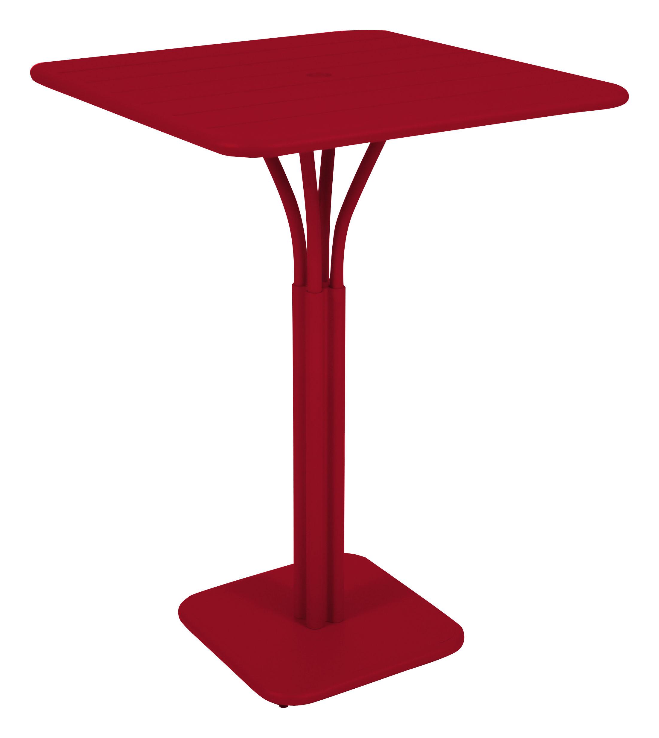 Möbel - Stehtische und Bars - Luxembourg Stehtisch 80 x 80 x H 105 cm - Fermob - Klatschmohn - lackiertes Aluminium