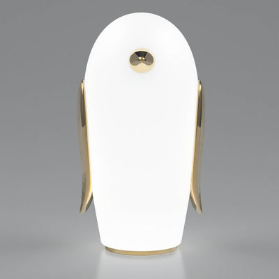 Decoration - Children's Home Accessories - Noot Noot Pingouin Table lamp - / Gold plated ceramic & glass by Moooi - Penguin / White & gold -  Céramique plaquée or, Frosted glass