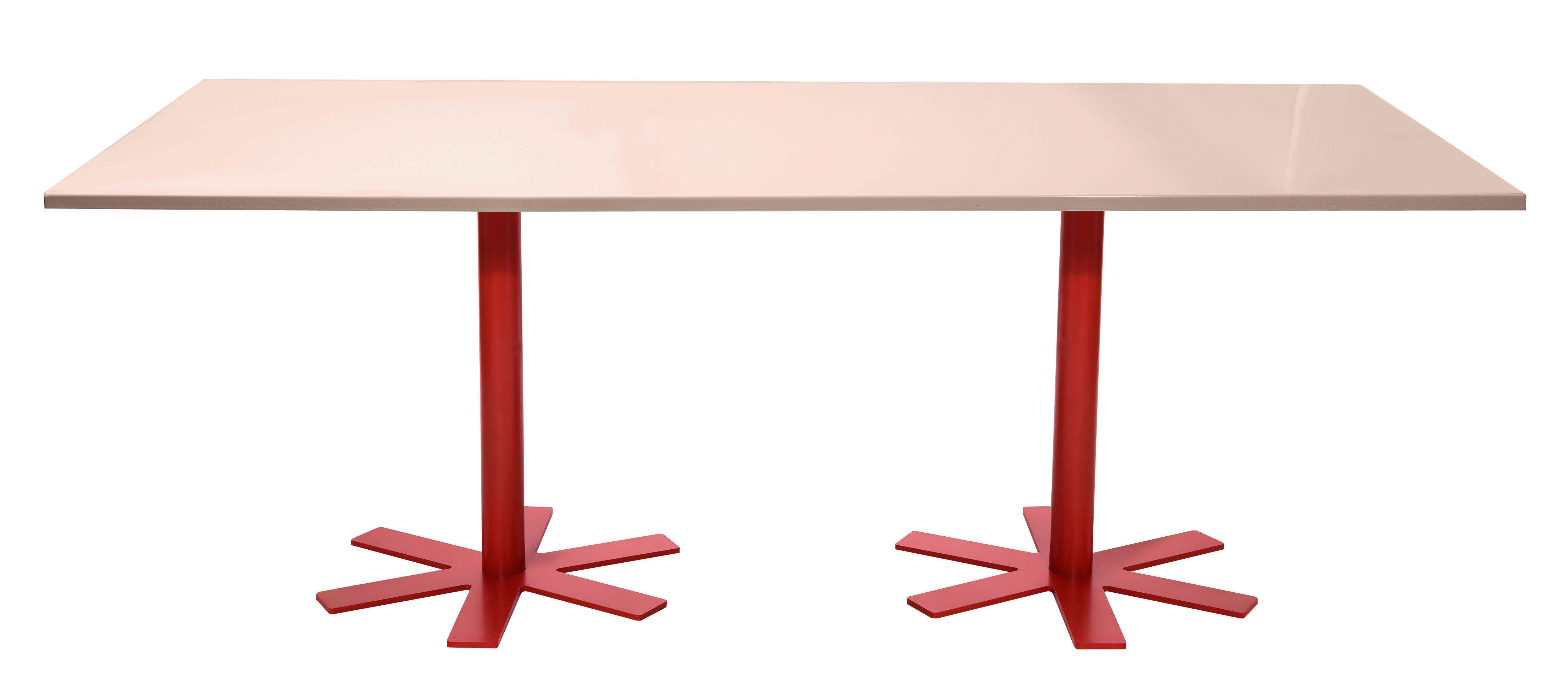 Mobilier - Tables - Table rectangulaire Parrot / 200 x 90 cm - Unie - Petite Friture - Rose pastel  / Pieds rouges - Acier émaillé, Acier thermolaqué
