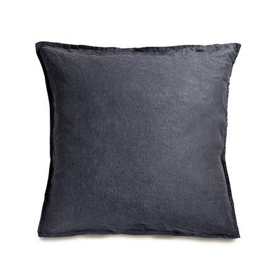 Dekoration - Wohntextilien - Taie d'oreiller 65 x 65 cm / 65 x 65 cm - Leinen gewaschen - Au Printemps Paris - Anthrazit - Lin lavé