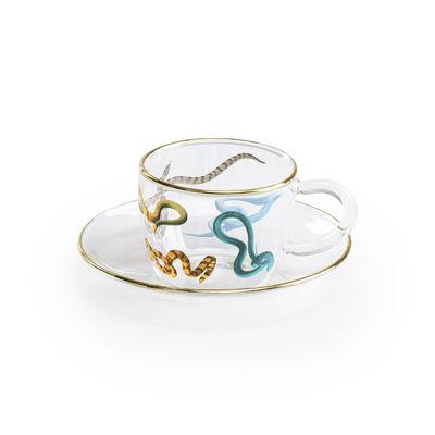 Tasse à café Toiletpaper - Snakes - Seletti multicolore,or,transparent en verre