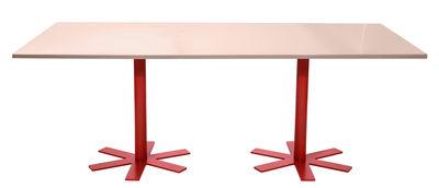 Arredamento - Tavoli - Tavolo Parrot / 200 x 90 cm - tinta unita - Petite Friture - Rosa pastello / Gambe rosse - Acciaio smaltato, Acciaio termolaccato