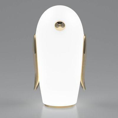Noot Noot Pingouin Tischleuchte / vergoldete Keramik & Glas - Moooi - Gold,Opalinweiß