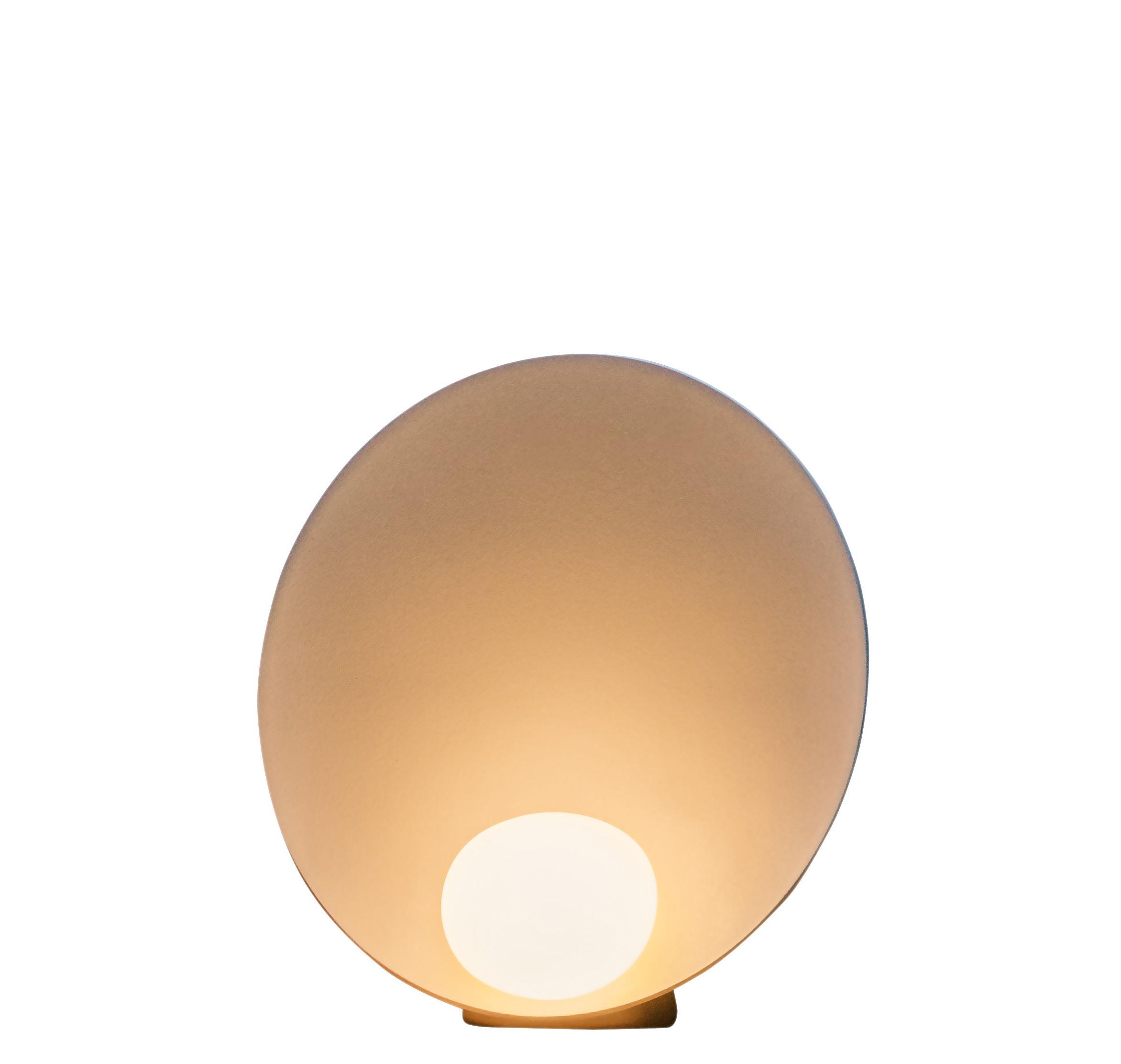 Leuchten - Tischleuchten - Musa Tischleuchte / stehend - Ø 26 cm - Vibia - Lachsfarben lackiert, matt - Aluminium, Verre soufflé opalin