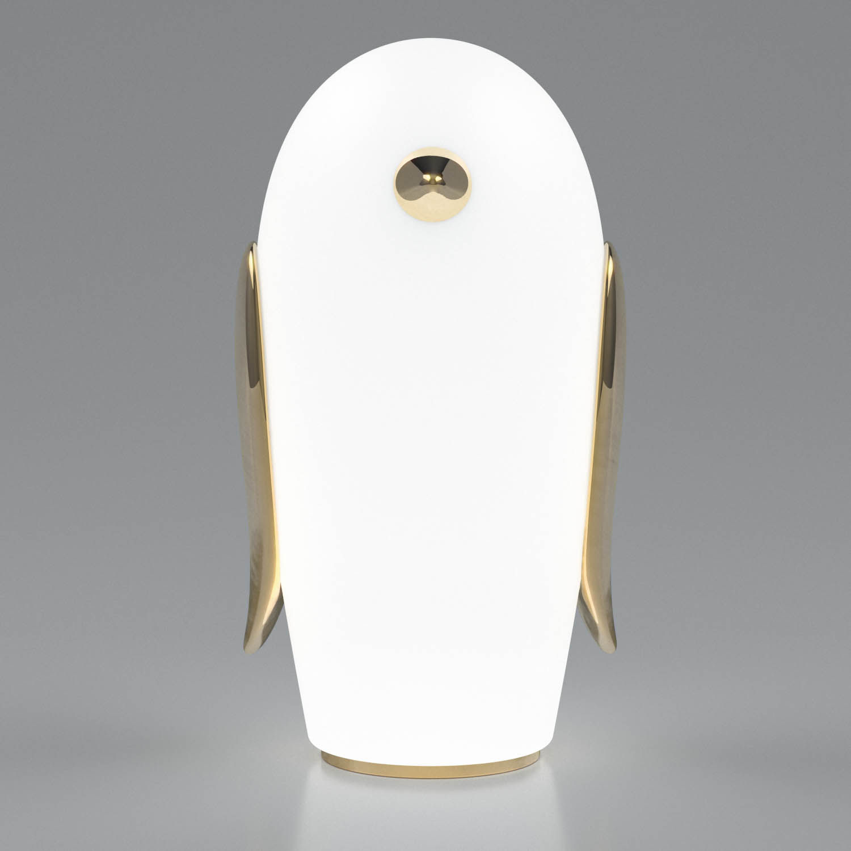 Dekoration - Für Kinder - Noot Noot Pingouin Tischleuchte / vergoldete Keramik & Glas - Moooi - Pinguin / weiß & golden - Céramique plaquée or, Verre dépoli