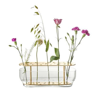 Decoration - Vases - Ikebana Long Vase - / Laiton & verre - H 10 cm by Fritz Hansen - Long / Laiton - Brass, Mouth blown glass