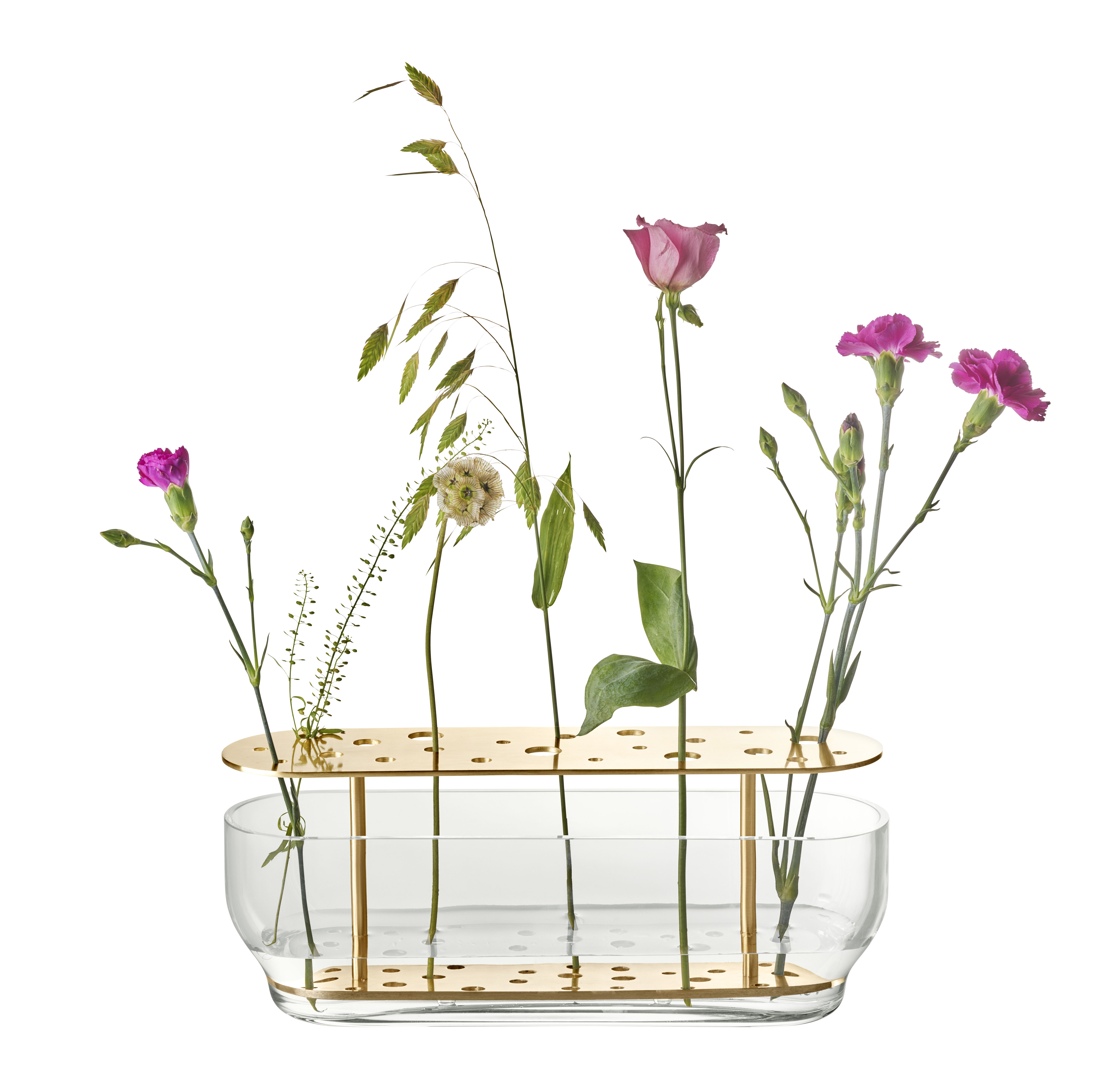 Dekoration - Vasen - Ikebana Long Vase / Messing & Glas - H 10 cm - Fritz Hansen - Long / Messing - Messing, mundgeblasenes Glas