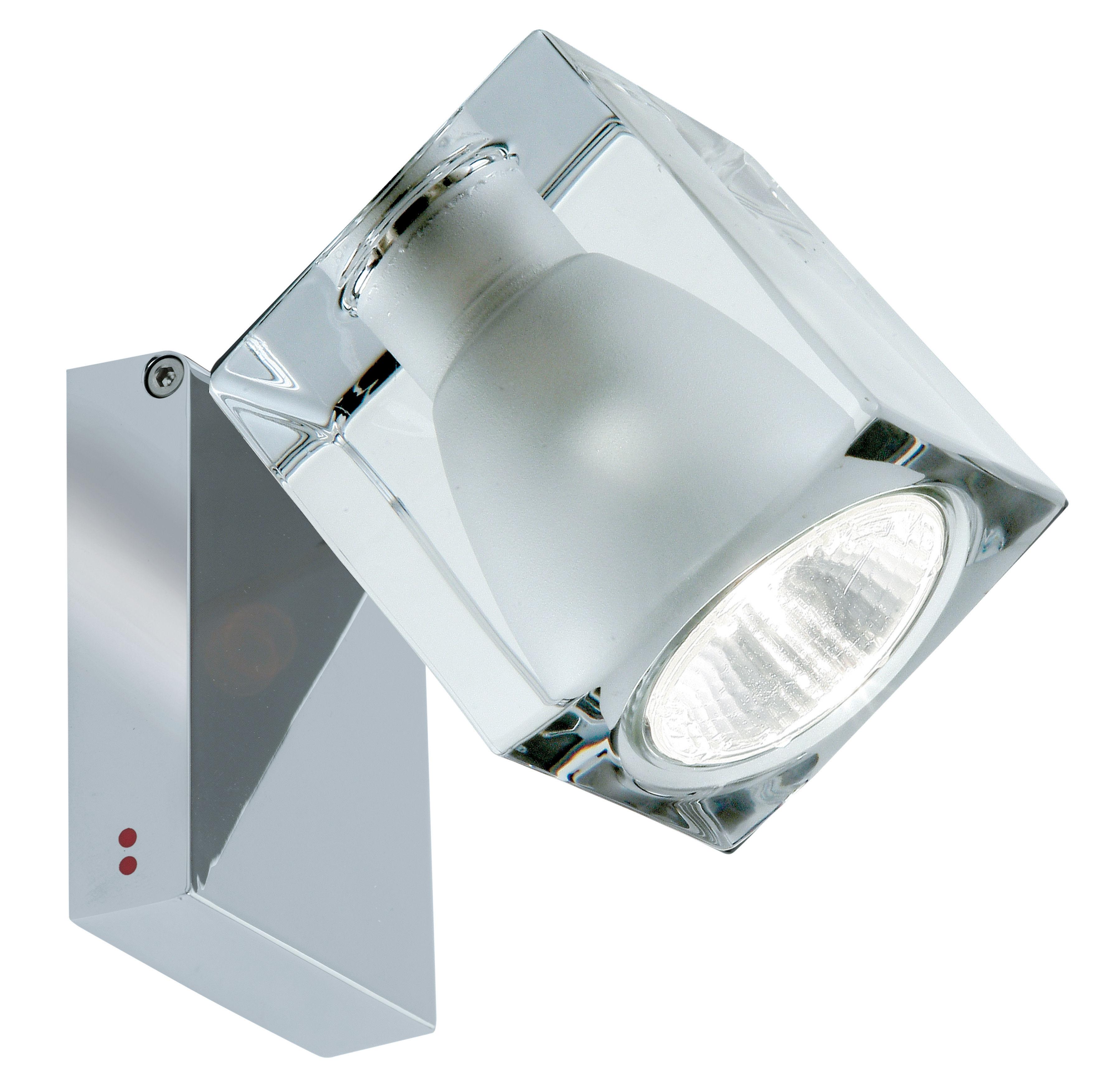 Leuchten - Wandleuchten - Cubetto  Crystal Wandleuchte / Deckenleuchte - verstellbar - Fabbian - Transparent / Wandhalterung chrom-glänzend - Glas, verchromtes Metall