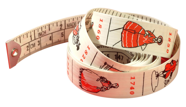 Dekoration - Spaßig und ausgefallen - Mode Zollstock - Pa Design - Seite: Maßangaben weiß - Rückseite: farbige Abbildungen - plastifiziertes Gewebe