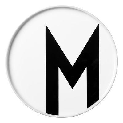 Assiette A-Z / Porcelaine - Lettre M - Ø 20 cm - Design Letters blanc en céramique