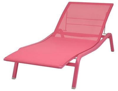 Outdoor - Chaises longues et hamacs - Bain de soleil Alizé / larg. 80 cm - 5 positions - Fermob - Fuchsia - Aluminium laqué, Toile polyester