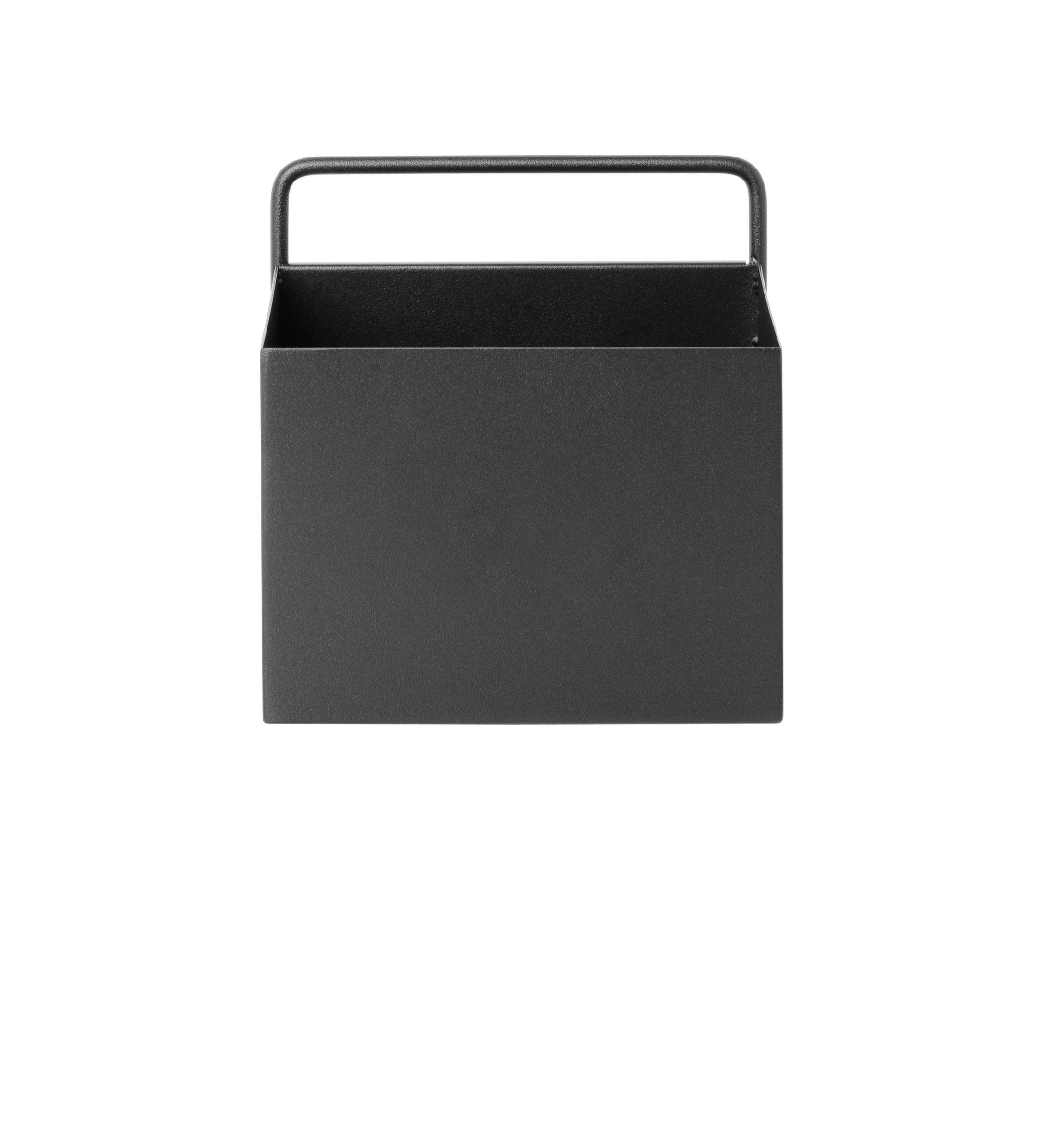 Outdoor - Töpfe und Pflanzen - Carré Blumentopf / L 15,6 cm x H 15,6 cm - Ferm Living - Schwarz - epoxy-beschichtetes Metall