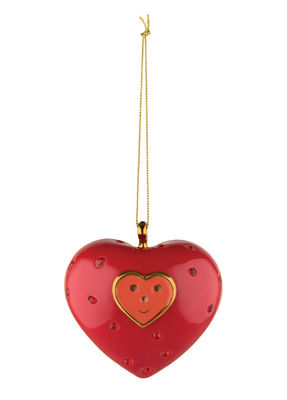 Boule de Noël Faberjorì / Cuore e Cuora - Porcelaine peinte main - Alessi rouge,or en céramique