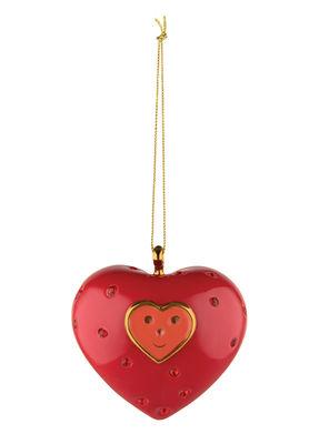 Boule de Noël Fleurs de Jorì / Cuore e Cuora - Porcelaine peinte main - Alessi rouge,or en céramique