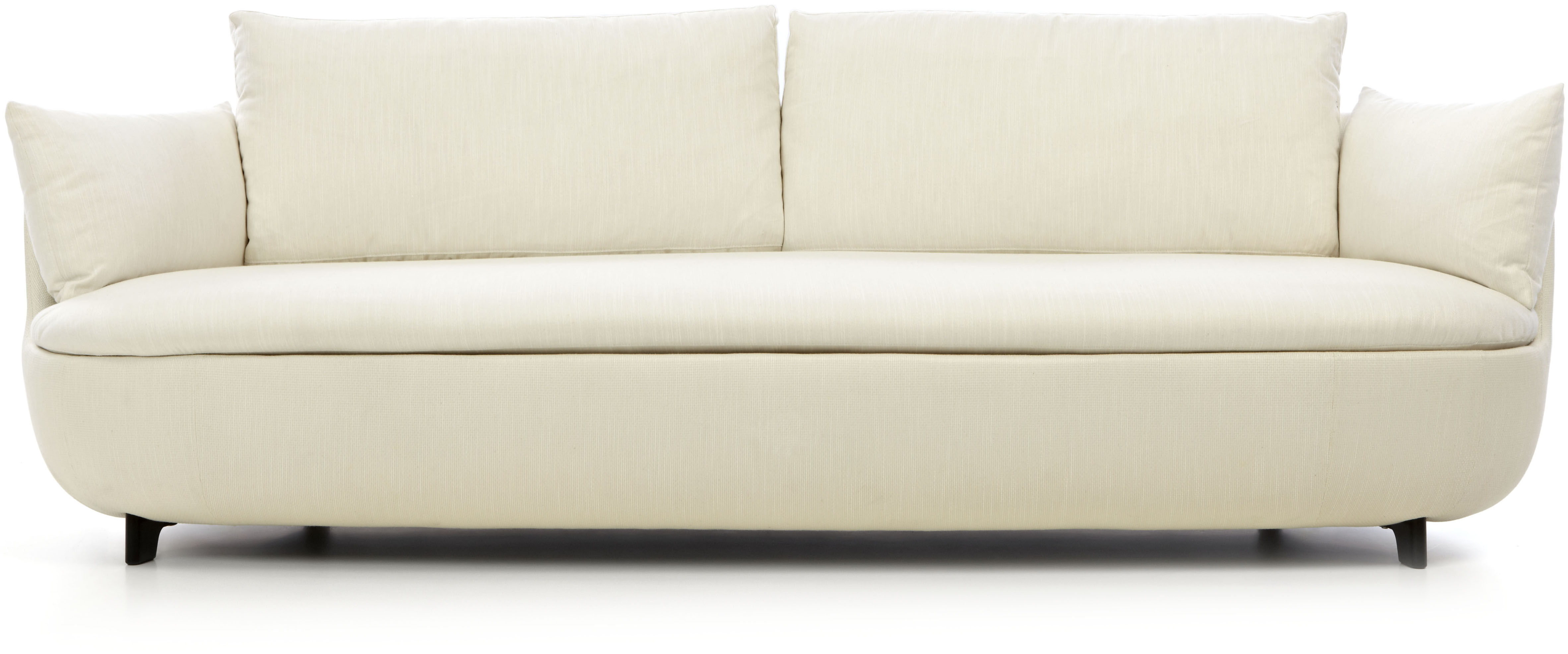 Mobilier - Canapés - Canapé droit Bart / L 235 cm - Pieds bois - Tissu - Moooi - Tissu crème / Pieds noirs - Bois, Mousse, Tissu