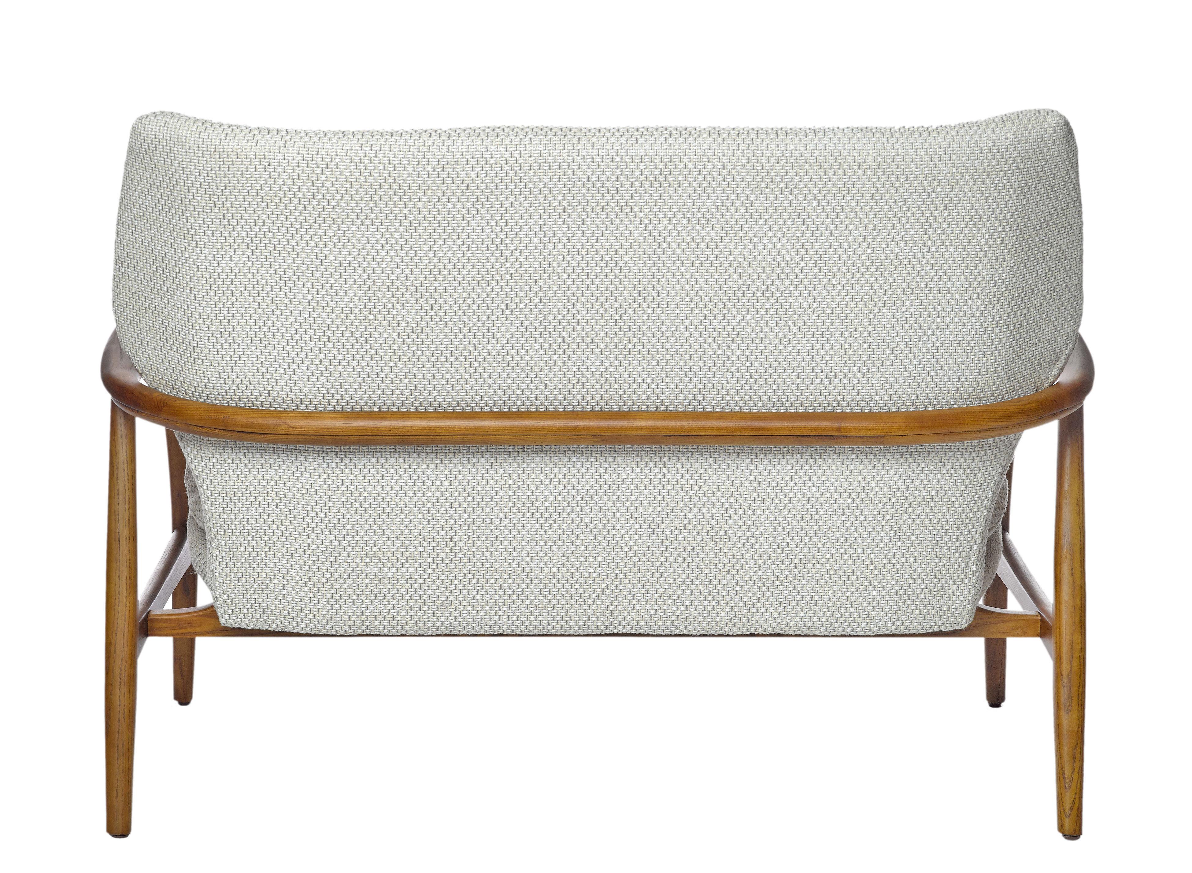 canap droit peggy 2 places l 124 cm ecru bois naturel pols potten. Black Bedroom Furniture Sets. Home Design Ideas