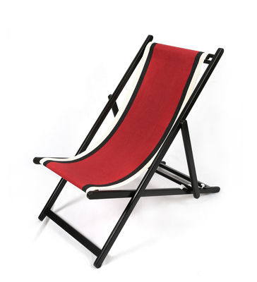 Outdoor - Chaises longues et hamacs - Chaise longue Transat / Pliable & réglable - Maison Sarah Lavoine - Rouge / Structure noire - Bois laqué, Coton