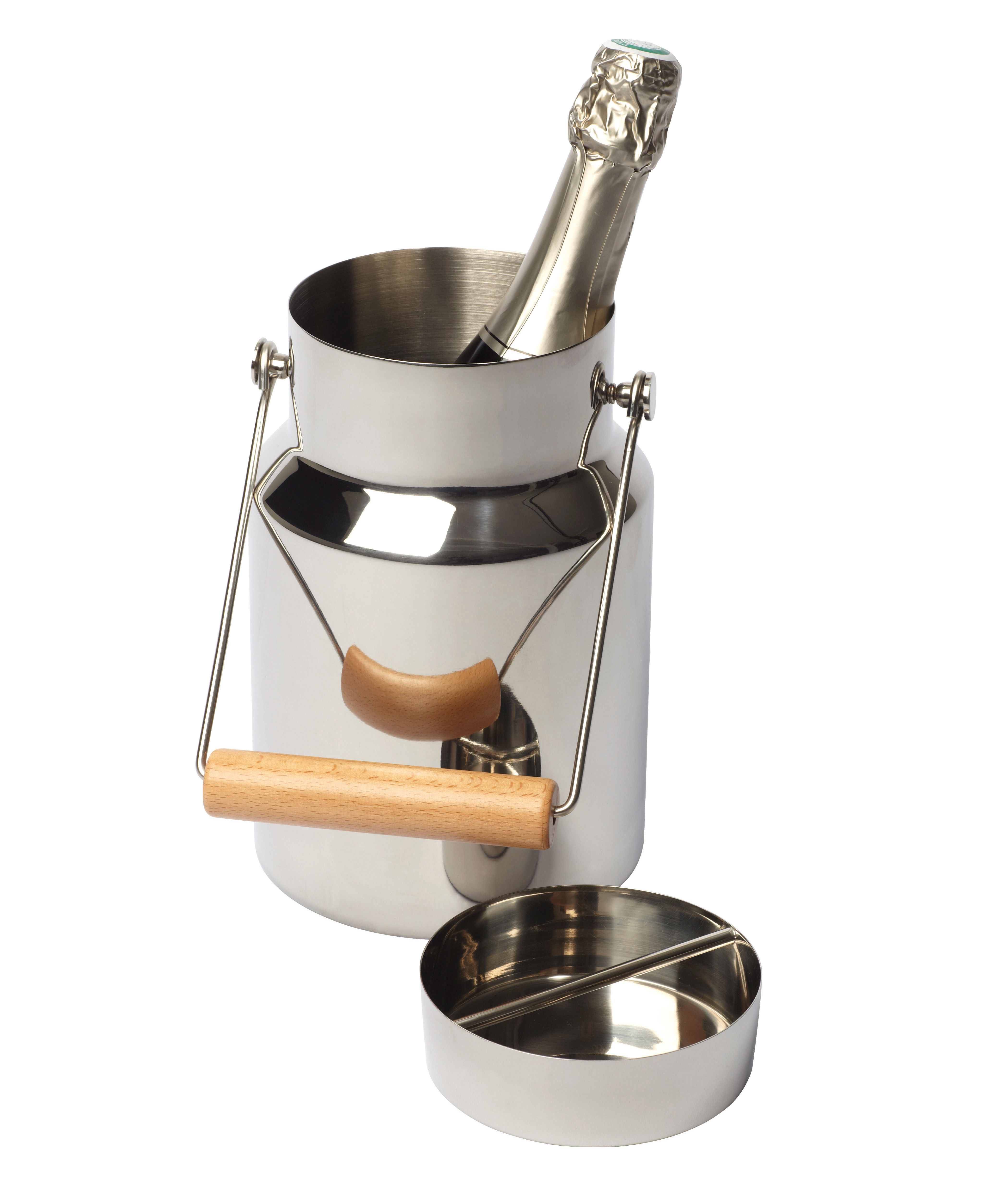 Decoration - Funny & surprising - Timbale Champagne bucket by L'Atelier du Vin - Stainless steel - Beechwood, Stainless steel