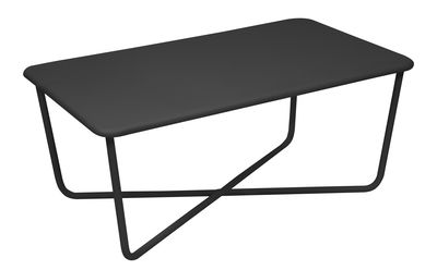 Furniture - Coffee Tables - Croisette Coffee table - 98 x 57 cm / Metal by Fermob - Liquorice - Steel