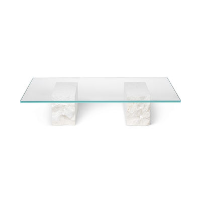 Furniture - Coffee Tables - Mineral Coffee table - / 120 x 70 cm - Marble & glass by Ferm Living - White & transparent - Glass, Marble