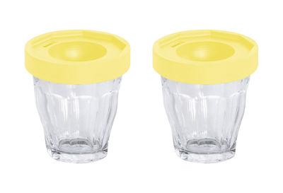 Arts de la table - Coquetiers - Coquetier Cot-Cot / Set de 2 - Verres Duralex - Designerbox - Couvercle jaune / Transparent - Plastique TPE, Verre
