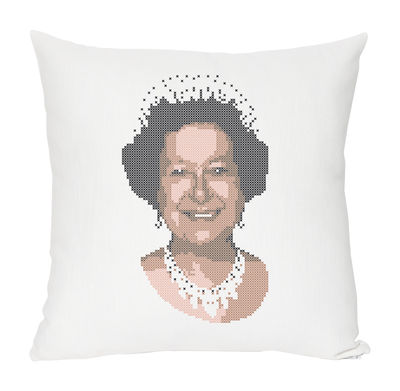 Decoration - Children's Home Accessories - Queen Cushion - Linen & cotton by Domestic - Queen - White & black - Cotton, Linen